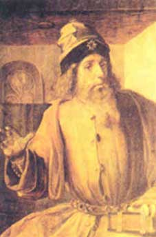 Una interpretazione di Aristotele in abiti rinascimentali in un olio di Giusto di Gand (attivo tra il 1460 ed il 1475)