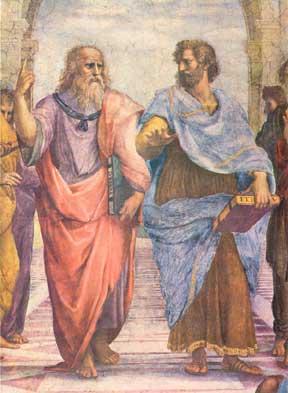 Raffaello Sanzio: La Scuola di Atene (part.) affresco della Stanza della Segnatura dei Palazzi Vaticani. A sinistra Platone indica il cielo con tra le mani il libro del Timeo, mentre a destra Aristotele, che regge l'Etica, indica la terra.